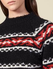 Pullover mit geometrischem Motiv : LastChance-ES-F50 farbe Rouge/Noir/Ecru