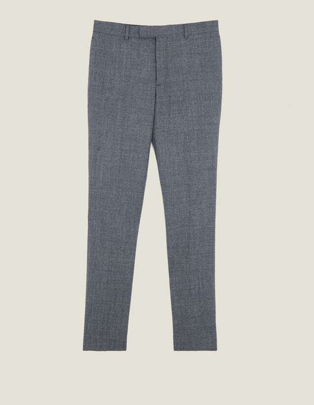 Melierte Anzughose aus Wolle : LastChance-IT-H50 farbe Grau Meliert