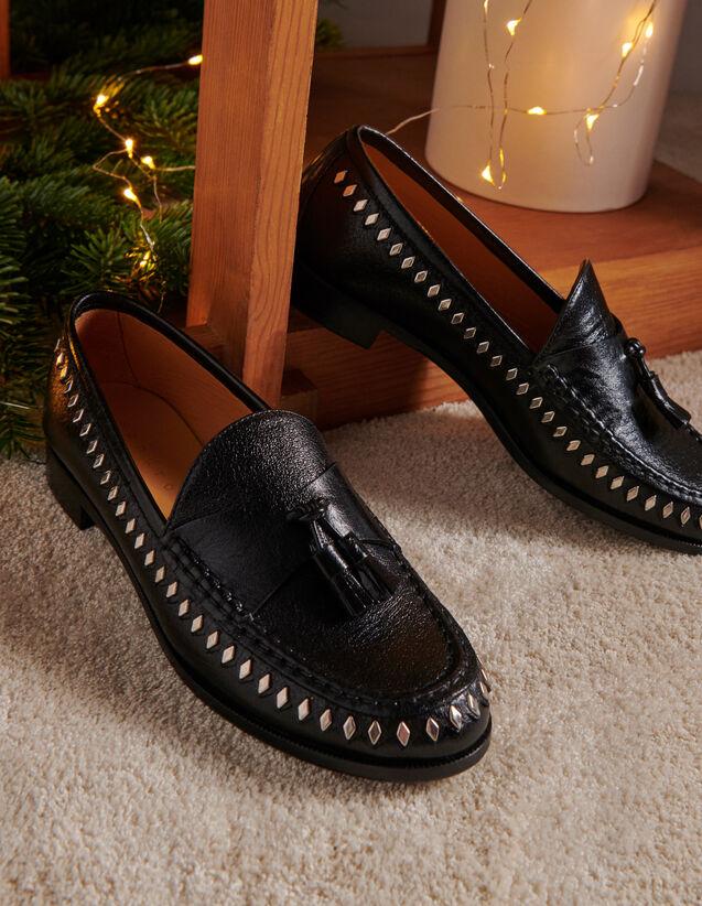 Mokassins aus Leder mit Knautscheffekt : Schuhe farbe Schwarz