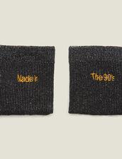 Lurex-Strümpfe Mit Stickerei : Socken farbe Schwarz