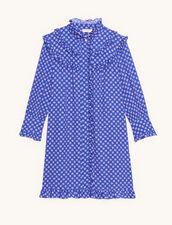Kurzes bedrucktes Langarm-Kleid : Kleider farbe Blau