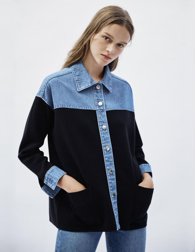 Cardigan Im Jacken-Stil Aus Materialmix : Pullover & Cardigans farbe Deep Navy