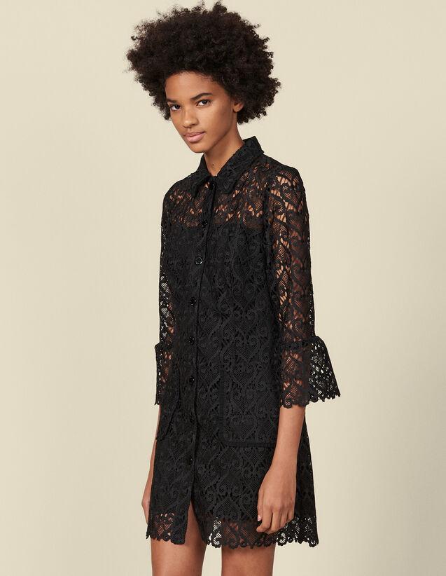 Mantelkleid aus Gipürespitze : Kleider farbe Schwarz