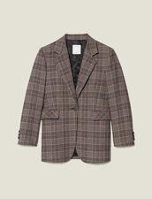 Blazer aus Wolle mit Karomuster : Blousons & Jacken farbe Camel