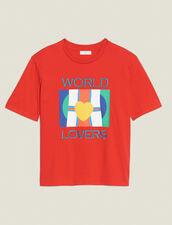 T-Shirt Mit Fahnenlogo Und Stickerei : null farbe Rot