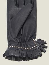 Lederhandschuhe Mit Studs Und Fransen : Handschuhe & Mütze farbe Schwarz