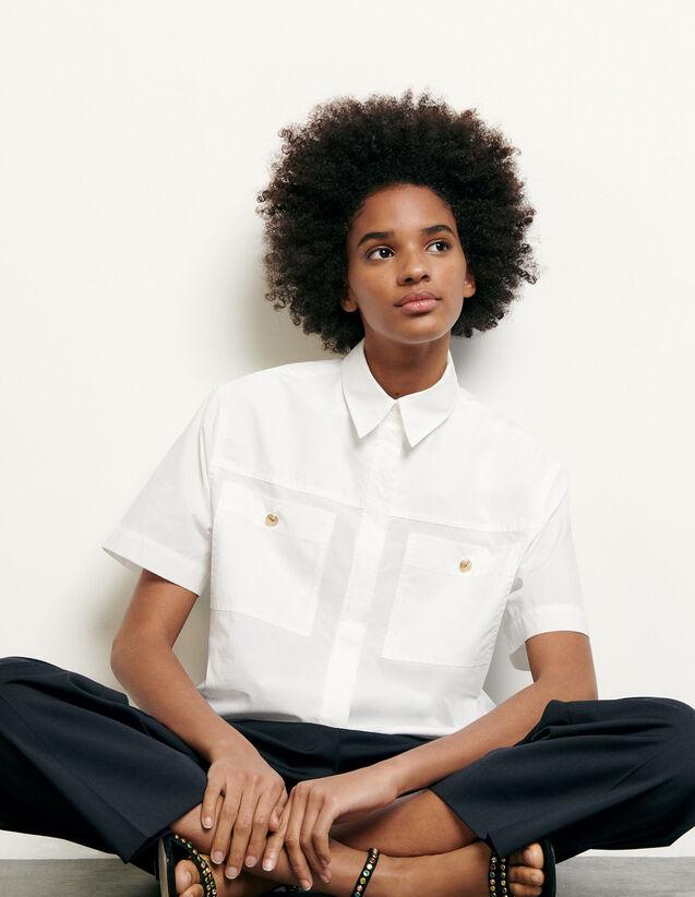 Kurze Hemdbluse mit aufgesetzten Taschen : Tops & Hemden farbe Optisches Weiss