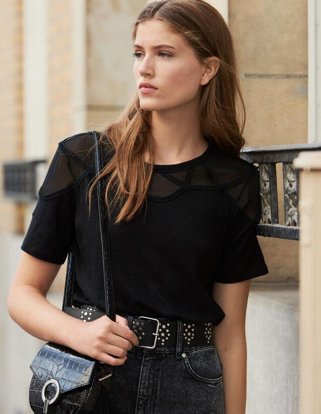 T-Shirt mit transparentem Einsatz : T-shirts farbe Schwarz