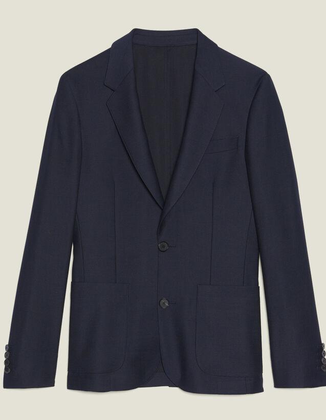Anzugsakko Aus Wolle In Panamabindung : Anzüge & Smokings farbe Marine