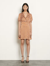 Kurzes Kleid mit Print : Kleider farbe Nude