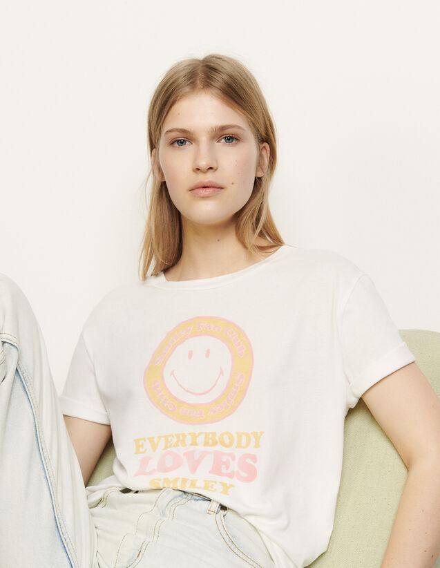 T-Shirt mit Flockmotiv : T-shirts farbe Blanc / Jaune