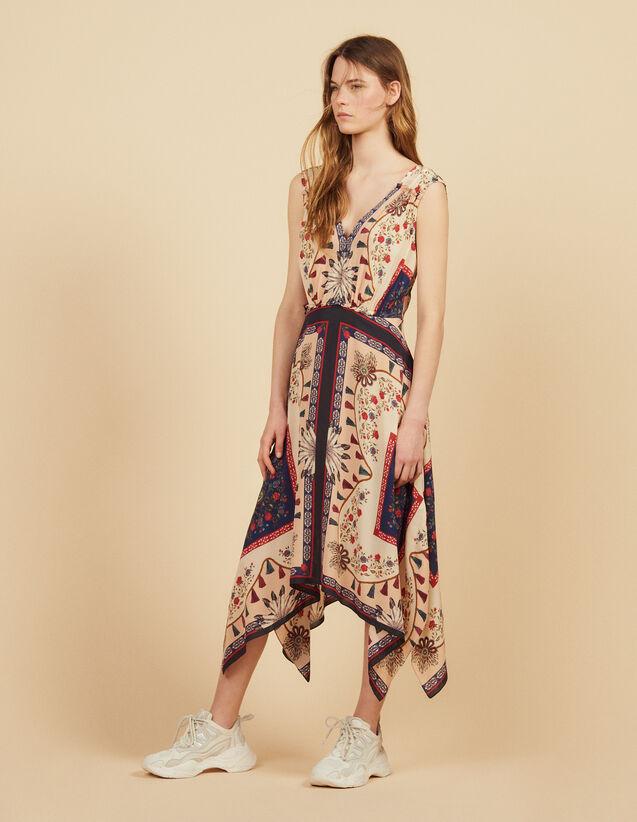 Fließendes Ärmelloses Kleid Mit Print : Kleider farbe Bunt
