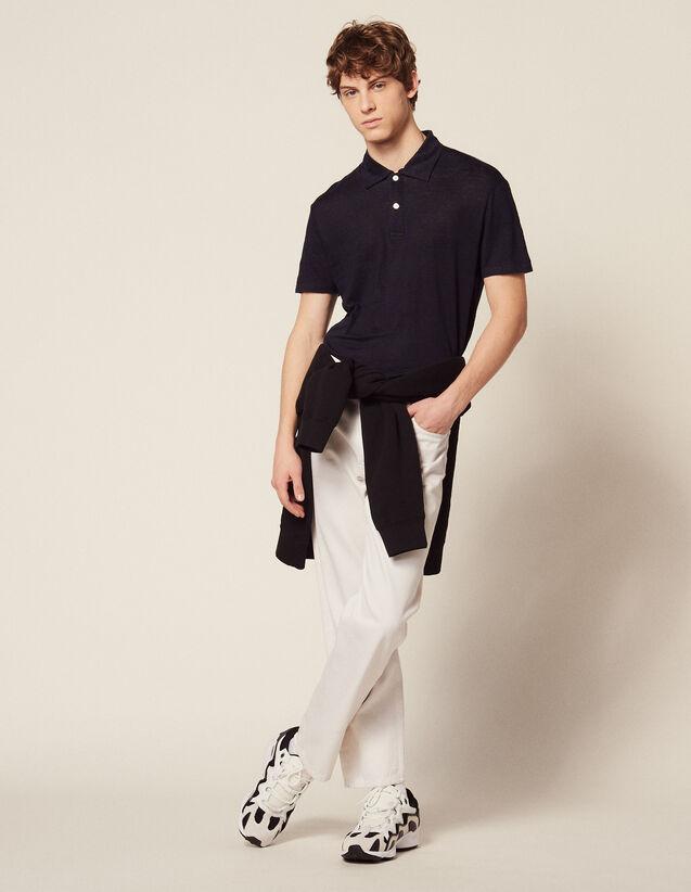 Kurzärmeliges Leinen-Poloshirt : LastChance-CH-HSelection-Pap&Access farbe Weiß