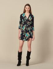 Kurzes Kleid mit Print und Drapé-Gürtel : Kleider farbe Schwarz