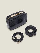 Gürteltasche aus Leder mit Krokoprägung : Taschen farbe Schwarz
