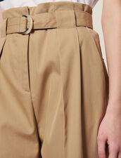 Hose Mit Hohem Taillenbund Und Gürtel : Hosen farbe Beige