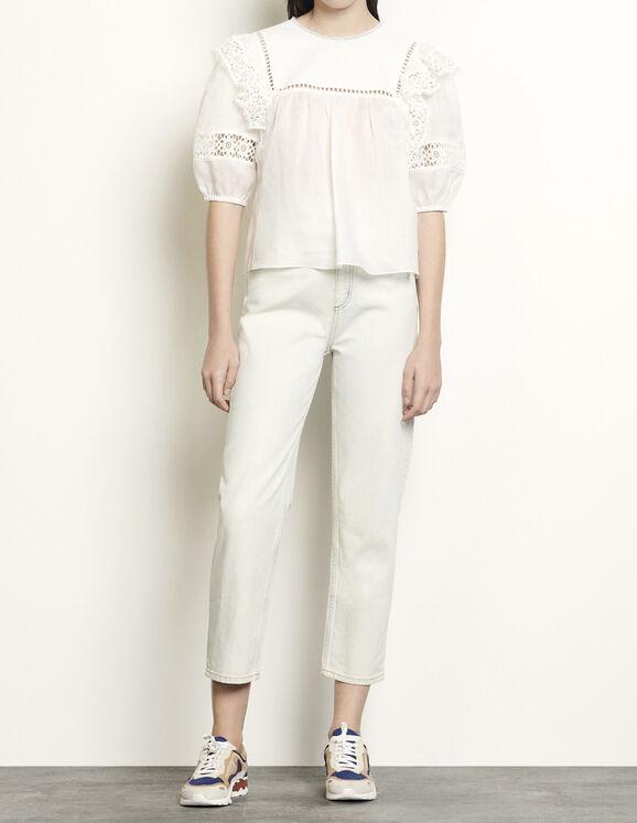 Top mit Borten und Einsätzen : Tops & Hemden farbe Weiß