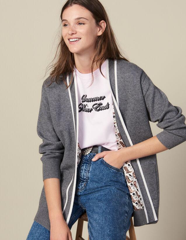 Cardi-Coat Mit Bedrucktem Innenfutter : Pullover & Cardigans farbe Grau