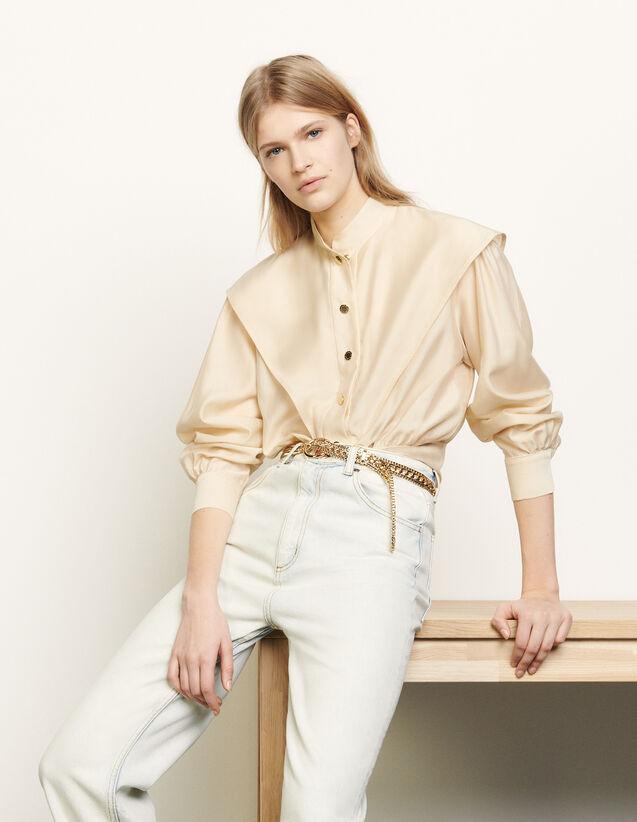 Kurze Hemdbluse mit Mandarin-Kragen : Tops & Hemden farbe Beige