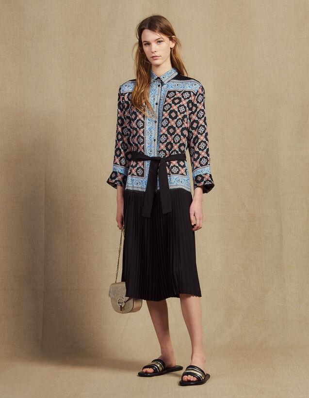 Langes Hemdkleid Mit Print : Kleider farbe Blau