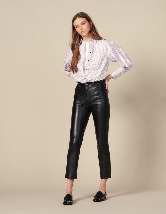 Gerade Lederhose mit Passen : Hosen farbe Schwarz