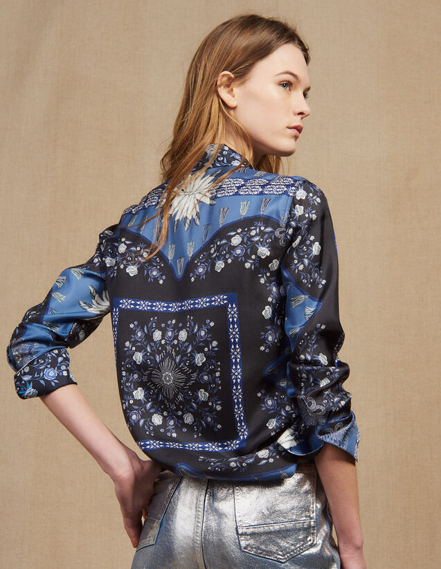 Fließende Seidenhemdbluse Mit Print : Bedrucktes Hemd farbe Blau