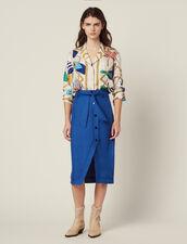 Knielanger Rock Mit Gürtel : Röcke & Shorts farbe Blau