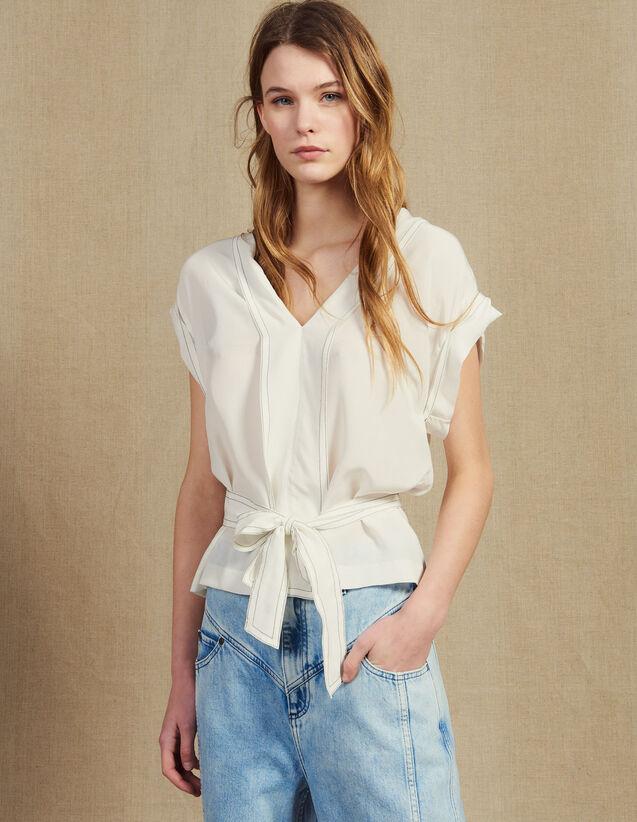 Top Aus Seide Mit Ausschnitt : Tops & Hemden farbe Ecru