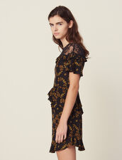 Kurzes Bedrucktes Kleid Mit Spitze : null farbe Schwarz