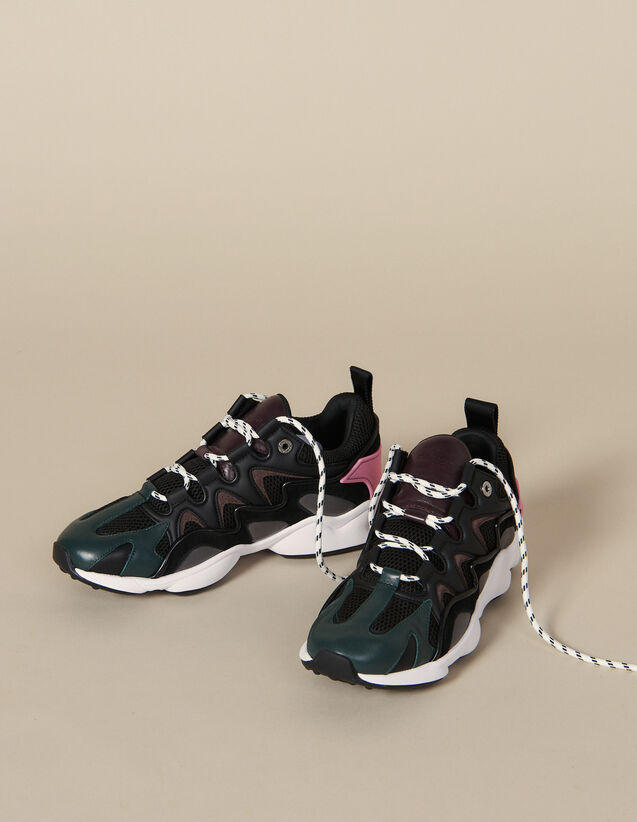 Sneaker aus Materialmix : Schuhe farbe Schwarz