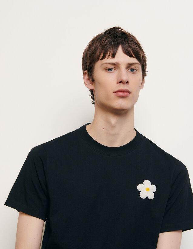 Baumwoll-T-Shirt mit aufgesticktem Patch : Sommerkollektion farbe Schwarz