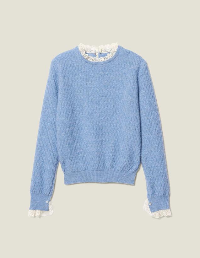 Pointelle-Pullover mit Spitzenrand : Pullover & Cardigans farbe Ciel