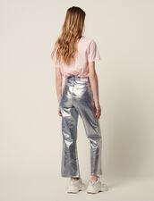 Ausgestellte Jeans Mit Hohem Bund : Jeans farbe Silber