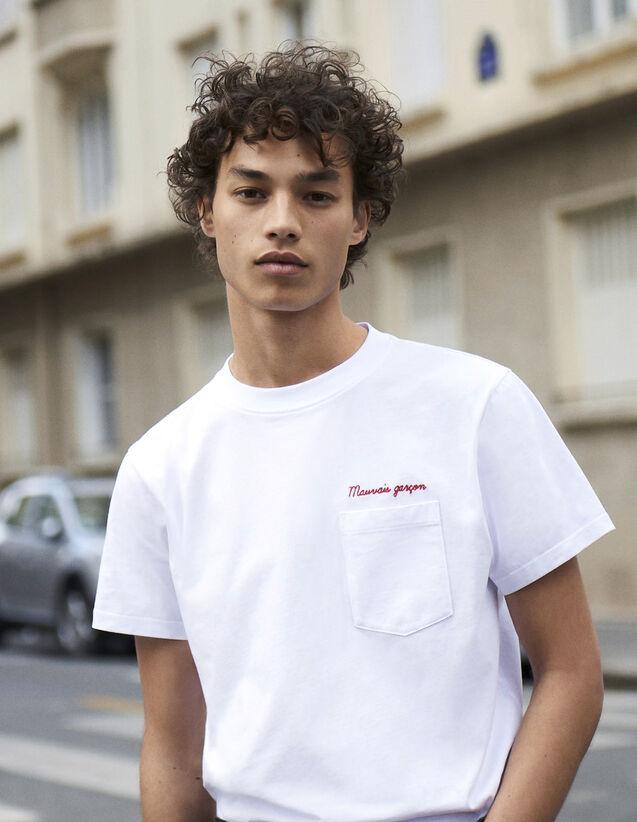 Baumwoll-T-Shirt Mit Schriftzug : Neue Kollektion farbe Marine