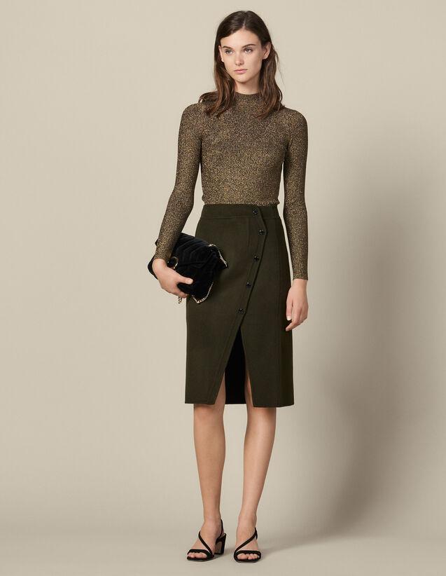 Geschlitzter Wickelrock Aus Wolle : Röcke & Shorts farbe Khaki