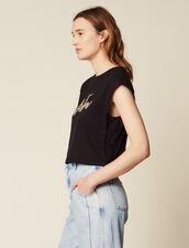 Kurzes T-Shirt Mit Perlenschriftzug : null farbe Schwarz