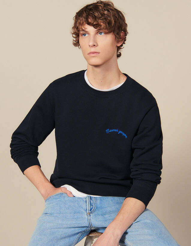Sweatshirt mit Schriftzug : Sweatshirts farbe Marine