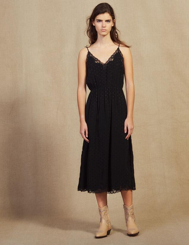 Lingerie-Kleid Aus Ton-In-Ton-Jacquard : Kleider farbe Schwarz