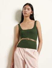 Kurzes Tanktop aus Rippstrick : Tops & Hemden farbe Khaki