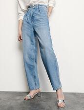 Jeans mit hohem Bund und Perlenknöpfen : Jeans farbe Bleu jean
