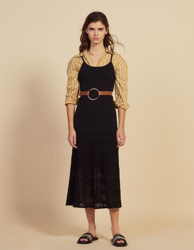 Langes Kleid Aus Strick Mit Häkeldetail : null farbe Schwarz