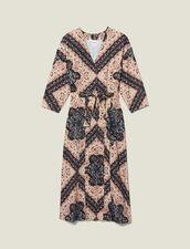 Ausschnitt-Midi-Kleid mit Print : LastChance-ES-F50 farbe Schwarz