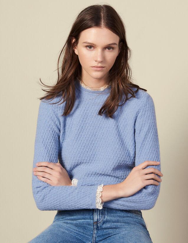 Pointelle-Pullover mit Spitzenrand : LastChance-ES-F50 farbe Ciel