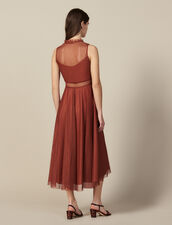 Langes Kleid aus besticktem Tüll : LastChance-ES-F50 farbe Rost