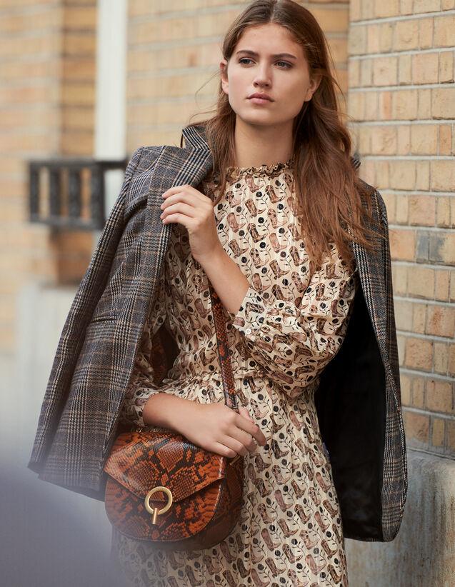 Midi-Kleid Aus Lurex-Seide Mit Print : Kleider farbe Beige