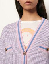 Kurzer Cardigan im Tweed-Style : Pullover & Cardigans farbe Bleu/Rose
