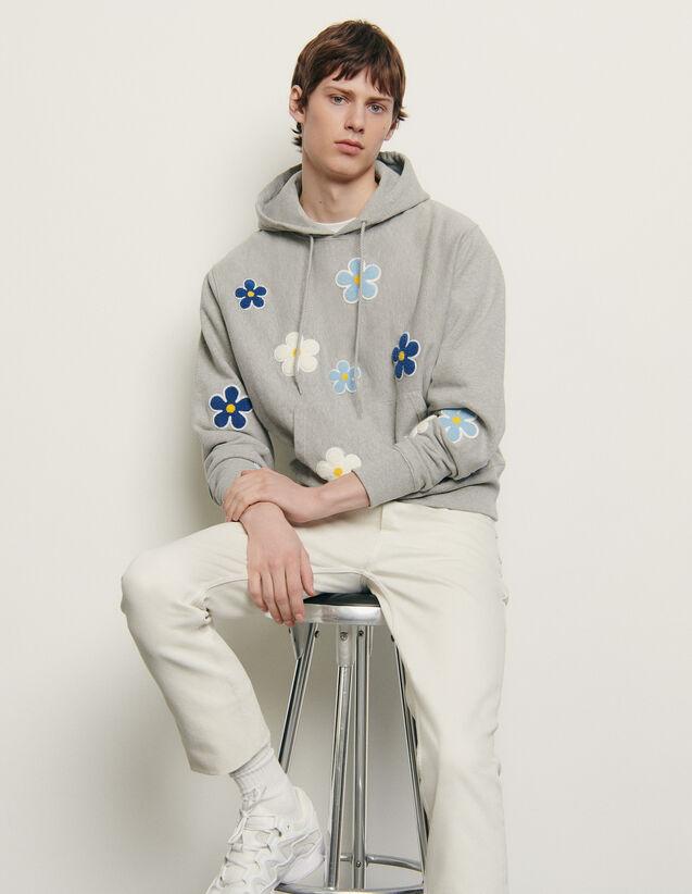 Hoodie mit aufgesticktem Patch : Sommerkollektion farbe Grau Meliert