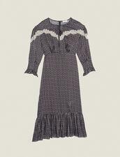 Langes Kleid Mit Boho-Print : null farbe Schwarz