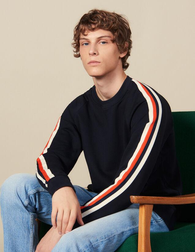 Sweatshirt Aus Baumwolle Mit Borten : Winterkollektion farbe Marine