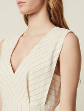 Midi-Kleid Mit Schmalen Streifen : null farbe Weiß